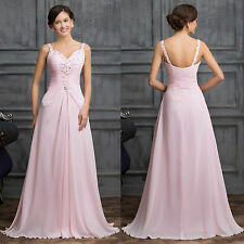 Beaded Chiffon PINK Bridesmaid Evening Formal Prom Long Cocktail Dress Ball Gown