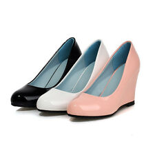 Classic Womens Office Work Wedge High Heels Round Toe Patent Leather Pumps Shoes