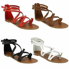 LADIES SPOT ON ANKLE STRAP TOE POST FLAT GLADIATOR BACK ZIP SUMMER SANDALS F0696