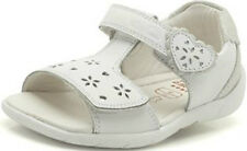 SOFTLY LOVE GIRLS CLARKS F FITTING WHITE LEATHER FLORAL PUNCHED OPEN TOE SANDALS