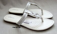 NEW CLARKS SILVI SHADE WOMENS WHITE LEATHER TOE-POST MULES SANDALS SIZE 5 / 38