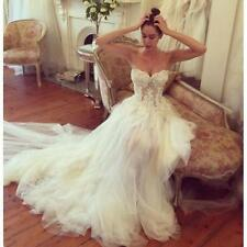 White Ivory Strapless Wedding Dress Lace Applique Bridal Gown Custom Made