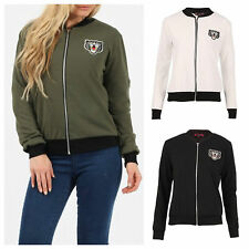 NEW WOMENS LADIES LONG SLEEVE ZIP BADGE BIKER LOOK LIGHTWEIGHT BOMBER JACKET TOP