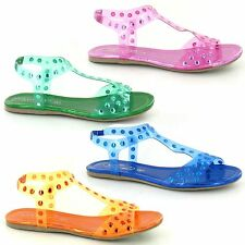SALE - LADIES SPOT ON GLADIATOR STYLE STUDDED JELLY SANDAL F0663 FIVE COLOURS
