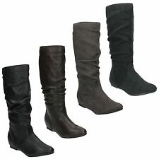 SALE - COCO KNEE HIGH ROUND TOE FLAT RUCHED BOOTS FOR LADIES L9333