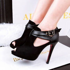 Hot Womens Ladies High Heels Cut Out Strap Buckle Suede Peep-toe Stilettos Shoes
