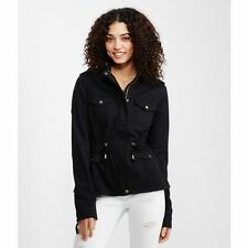 Aeropostale Jacket Womens Hooded Thick Cotton Anorak Jacket S or M Black NWT