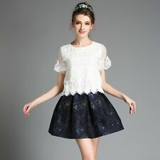Womens Summer Casual Party Cocktail Bowknot Sleeve Lace Tops Jacquard Dress