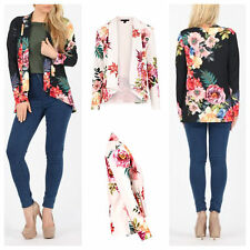 NEW WOMENS LADIES CASUAL PANELLED LONG SLEEVE FLORAL PRINT BLAZER SMART JACKET