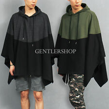Men's Fashion Contrast Color Cotton Hood Poncho Cape, GENTLER