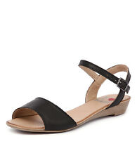 New I Love Billy Karanfil Black Leather Women Shoes Casuals Sandals Wedges
