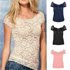 Sexy Womens Lace Floral Top Shirt Size 8 10 Hot Party Casual Evening Blouse M L