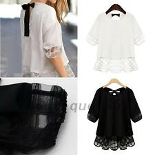 Stylish Women's Ladies Short Sleeve Plaids Shirt Checks Blouse Flared Top Bowtie