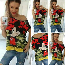 Chic Womens Cartoon Mickey Camouflage T-Shirt Tee Bare One Shoulder Blouse Tops
