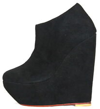 Women shoes sandal wedges suede leather platform Afrah Black Aus sizes 2 to 10.5