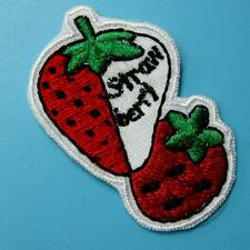 1 Strawberry Fruit Sweet Iron on Sew Patch Cute Applique Badge Embroidered Motif