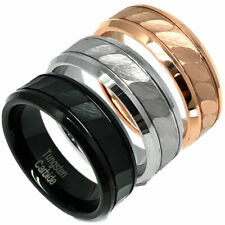 Tungsten Carbide 8mm - Wedding Band Ring for Him or Her Brushed Hammered Center