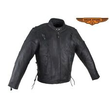 Men Motorcycle Biker Leather Jacket With Multi Pocket and Zippered Cuffs
