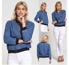NEW WOMENS LADIES LONG SLEEVE CUFFED HEM DENIM JACKET BIKER MA1 BOMBER JACKET
