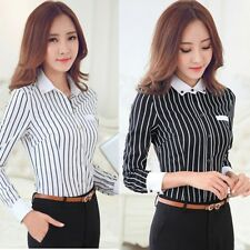 Women Elegant OL Career Striped Cotton Shirt Lapel Long Sleeve Button Blouse Top
