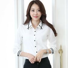 Womens Elegant OL Career Hit Color White Chiffon Shirt Long Sleeve Blouse S-4X