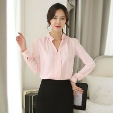 Fashion Women Elegant V Neck Solid Chiffon Blouse Long Sleeve Career Shirt Tops
