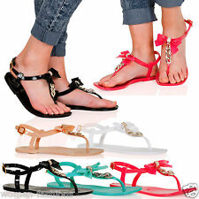 Womens Buckle Flat Toe Post Bow Chain Detail Jelly Sandals Ladies Shoes 3-8 UK