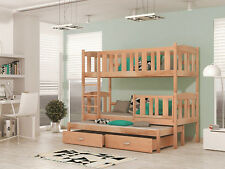 3 SLEEPER BUNK BED TRIPLE WOODEN SOLID, BASIC FOAM MATTRESSES AND STORAGE