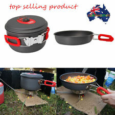 1-2/3-4 People Cooking Pot Camping Cookware Outdoor Pots Frying Pan Kettle Set #