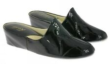 WEDGE LEATHER SPANISH SLIPPERS BLACK PATENT CUSHIONED COMFORT FOOTLOOSE BYRELAX