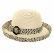 Ladies Straw / turn up brim and buckle Band Sun Hat S227