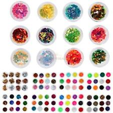 12Pcs Mix Color Glitter Sequins Dust Nail Art Acrylic UV Gel Decoration Tips Set