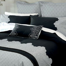 Marnie Charcoal Duvet Doona Quilt Cover Set by Canterbury | 6 Piece | Queen