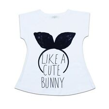ehgii Baby Kids Girls Cute Like a Bunny T-shirt Cotton Shirt White for Toddlers