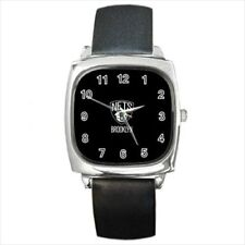 Brooklyn Nets Round & Square Leather Strap Watch - Basketball NBA