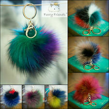 Elegant Soft Fluffy Vegan Fox Eco Fur Ball Key Chain PomPom Handbag Car Key Ring