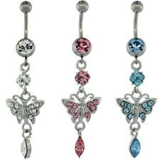 Stainless Steel Dangle Butterfly Belly Navel, Belly Button Ring w/ Crystals