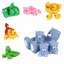 4pc Baby New Bathing Floating Rubber Squeaky Animal Play Swimming Pool Tub Toys