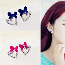 Women Rhinestone Love Heart Earrings Fashion Bow Ear Studs Earring