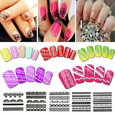 Black/White Transparent 3D Lace Nail Art Stickers Decal Transfers Manicure Tips