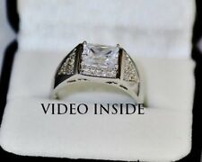 Mens Ring 3.4CT Engagement &Wedding Engagement Rings Diamond Ring Silver FAB16*
