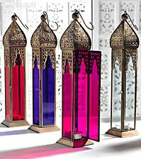 Large Moroccan Style Lantern Tea light Candle Holder Purple Pink Clear or Red