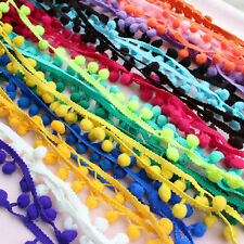 1M 10mm Ball Pom Pom Bobble Trim Braid Fringe Ribbon Edging Craft Decor Hot New