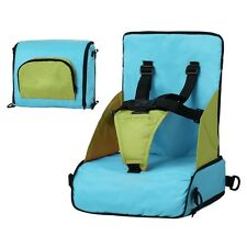 PORTABLE TEXTILE HIGHCHAIR WITH RAISED SEAT FOLDABLE 5 HARNESS POINTS BLUE/PINK