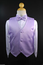 Children Teen Boys LILAC VEST + BOW TIE for Wedding Formal Suits Tuxedo Sz S-28
