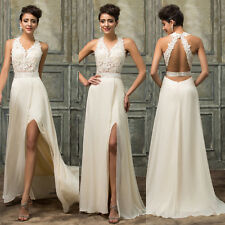 Beige Long Applique Evening Bridesmaid Formal Party Ball Gown Wedding Prom Dress