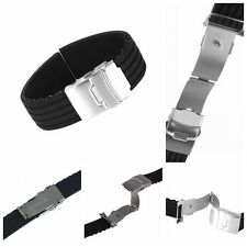 Black Silicone Rubber Watch Strap Band Deployment Buckle Waterproof 18~24mm