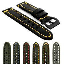 StrapsCo Black Vintage Watch Band Strap Contrast Stitching w/ Black Pre-V Buckle