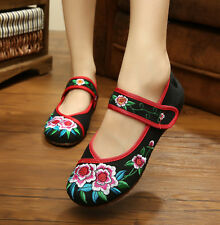 Womens Chinese Embroidered Flower Ladies Flat Shoes Mary Jane Ballet Cotton Pump