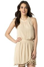 NWT MISS ME Taupe Halter Mini Sun Dress Lined Wrap-style Skirt Large Ties